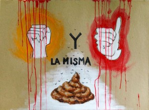 A Hand-Painted Sign seen at the August 28, 2015 protest march in Antigua, Guatemala