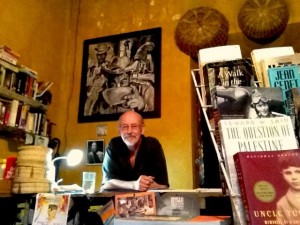 Bill McGowan at his post in Dyslexia Bookstore.