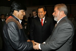 Evo Morales, Hugo Chavez, Lula de Silva