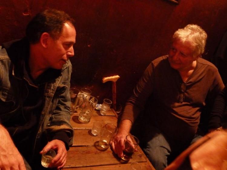 John Rexer and Bruce McCowan holding the floor at Café No Sé in Antigua, Guatemala, 2014