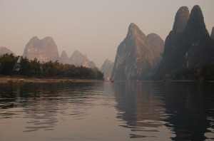 Photo of The Li River and Mountains by the Author