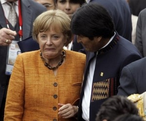 Angela Merkel Enjoying Time With Evo Morales
