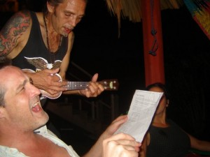 The author (foreground) and Shanghai (background) belting out a song a few years back.